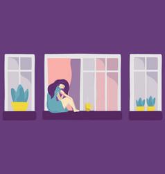 Cartoon sad depression young woman sitting alone vector