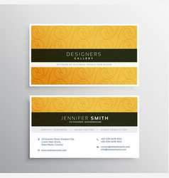 clean yellow business card design with elegant vector image