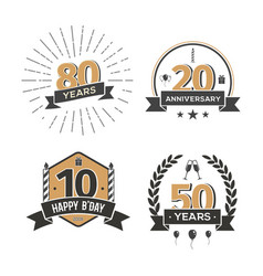 Collection of retro anniversary logo isolated vector