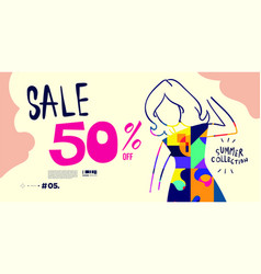 Colorful women fashion summer sales banner vector