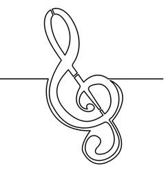 continuous line treble clef music concept vector image