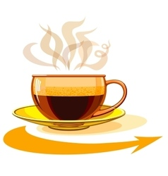 Cup of hot coffee glass arrow vector image