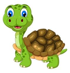 cut cartoon turtle vector image