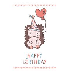 cute cartoon hedgehog with heart shaped balloon vector image