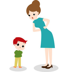 cute cartoon mom and unhappy boy vector image