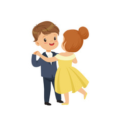 Cute little boy and girl dancing waltz in elegant vector