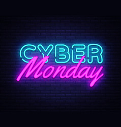 cyber monday concept banner in fashionable neon vector image
