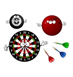Dartboard bowling and billiard sport items vector