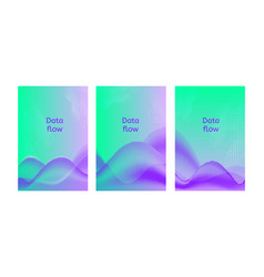 Data flow posters set of abstract backgrounds vector