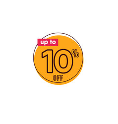 Discount up to 10 off label template design vector