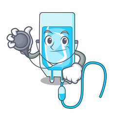 doctor infussion bottle character cartoon vector image