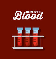 Donate blood rack with test tube tool vector