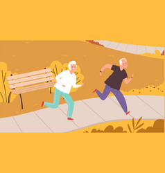 elderly running in autumn park happy seniors vector image