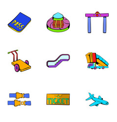 flight icons set cartoon style vector image