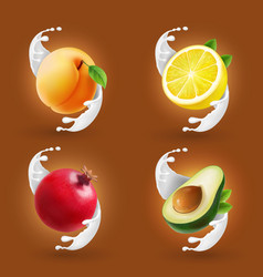 fruits in milk splash set vector image