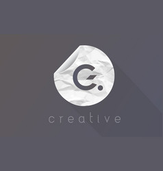 g letter logo with crumpled and torn wrapping vector image