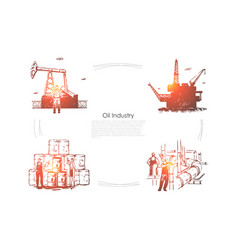 gas production plant workers at pipeline vector image
