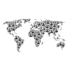 Global map collage of unknown person icons vector