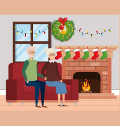 Grandparents in livingroom with winter clothes vector