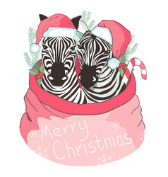 graphical zebra in santa claus hat isolated on vector image