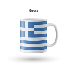 Greece flag souvenir mug on white background vector image