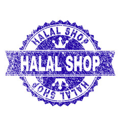 Grunge textured halal shop stamp seal with ribbon vector