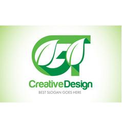 Gt green leaf letter design logo eco bio leaf vector