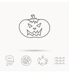 Halloween pumpkin icon Scary smile sign vector image
