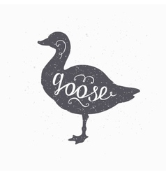 Hand drawn farm bird hipster silhouette Goose vector image