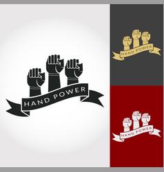 Hand power logo design fist vector