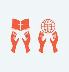 Hands with bible and globe vector