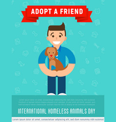 happy man is hugging an adopted happy dog vector image