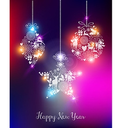 Happy new year 2015 elegant lights card vector image