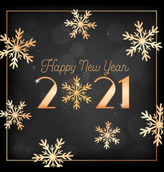 happy new year card with gold snow flakes and vector image