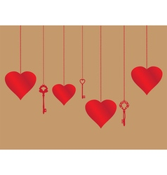 Hearts and keys vector