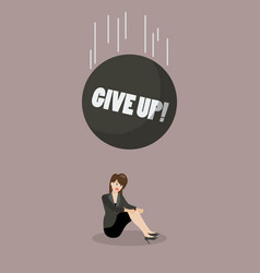 heavy debt falling to careless business woman vector image