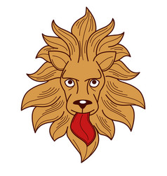heraldry royalty symbol lion with tongue and mane vector image