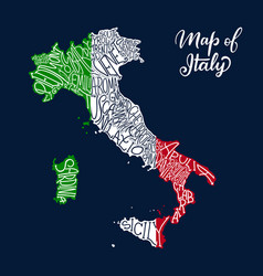 Italy regions map in sketch lettering vector