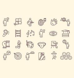 Large set line drawn icons depicting cognitive vector