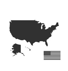map usa and flag in black color stock isolated vector image