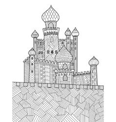 Medieval castle coloring book for adults vector image