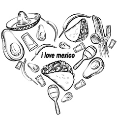 Mexico love set vector image