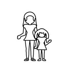 mom with daughter family outline vector image