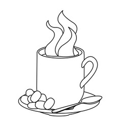 monochrome contour with hot cup of coffee serving vector image