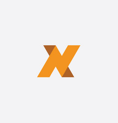 N icon letter logo orange sign vector