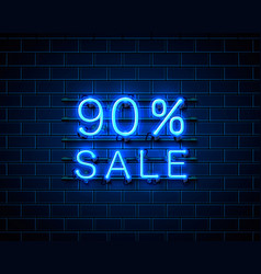 neon 90 sale text banner night sign vector image