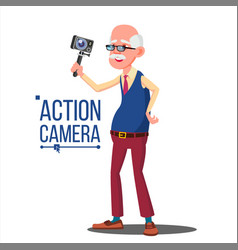 Old man with action camera self video vector
