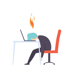 overworked exhausted man sitting at his working vector image