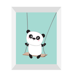 panda ride on the swing cute fat cartoon vector image