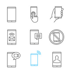 phone communication linear icons set vector image